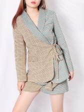 Boutique Contrast Color Plaid Blazer Skirt Set