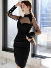 Sexy See Through Gauze Panel Bodycon Dress
