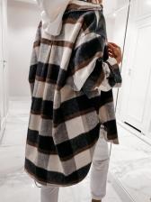 Retro Plaid Long Sleeve Ladies Coats