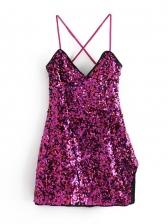 Sexy Sequined Cisscross Backless Sleeveless Dress