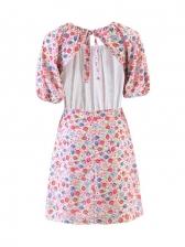 Sexy Backless Print Short Sleeve Dress