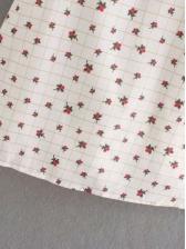 Spring Print Bow Neck Short Sleeve Dress
