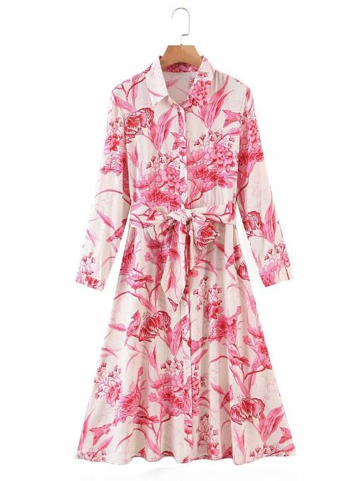 Tie Wrap Long Sleeve Floral Shirt Dress
