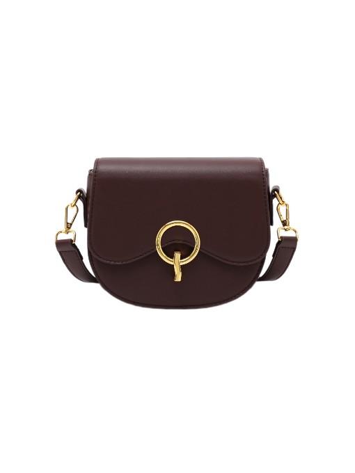 Simple Style Metal Decor Pure Color Saddle Bag