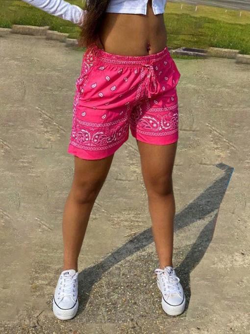Street Wear Printed Drawstring Shorts For Women