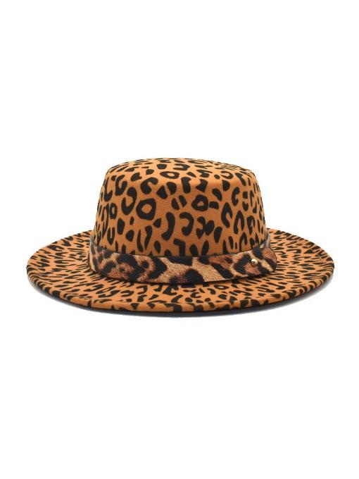 Winter Vintage Leopard Printed Fedora Hat