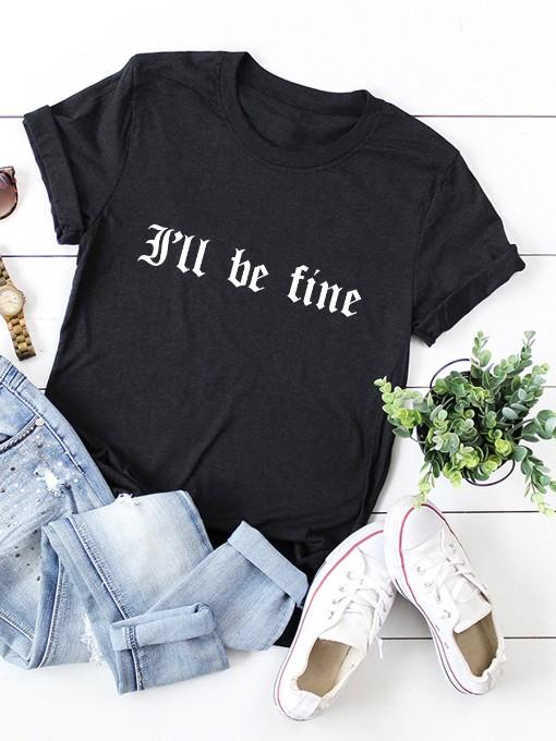 Summer Letter Print Short Sleeve T Shirt