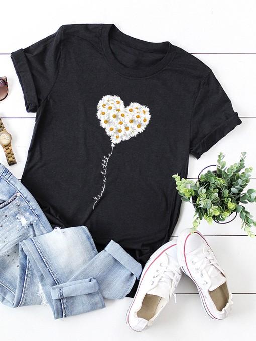 Casual Heart Print Plus Size Tee