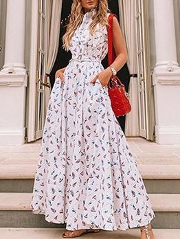 Summer Printed Vacation Sleeveless Maxi Dresses