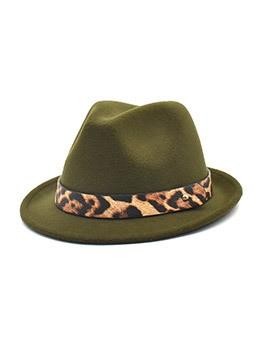 Wide Edge Vintage Fashion Leopard Fedora Hat