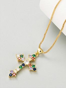 Trendy Cross Zircon Pendant Necklace