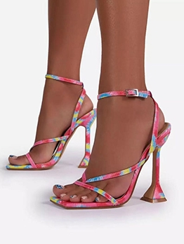 Colorful Square Toe Womens Sandals