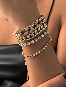 Stylish Full Rhinestone Hip Hop Bracelet Sets