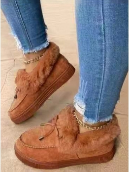 Bow Solid Faux Fur Height Increasing Shoes