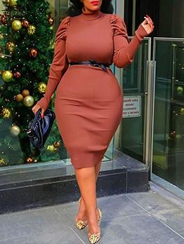 Mock Neck Plus Size Long Sleeve Dress