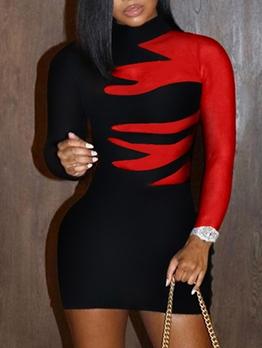 Fashion Contrast Color Printed Bodycon Dress