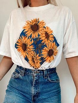 Fashion Sunflower Pattern Short Sleeve T Shirts