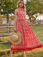 Summer Smart Waist Printing Boho Maxi Dress