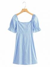 Front Twist Short Sleeve Plaid A-Line Dress