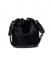 Trendy Animal Print Drawstring Fur Bucket Bag