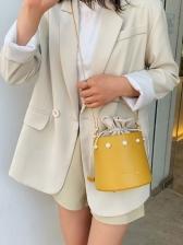 Chic Faux Pearl Decor Drawstring Bucket Bag