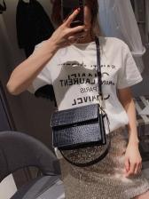 Trendy Crocodile Pattern Wide Strap Shoulder Bags
