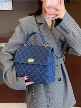 Retro Rhombic Pattern Chain Shoulder Bag