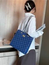 Rhombic Threaded Denim Chain Shoulder Bag