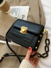 Vintage Stone Grain Leather Shoulder Bags