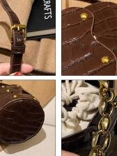 Stone Grain Chain Handle Drawstring Bucket Bag