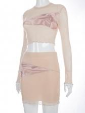 Casual Printed Long Sleeve Crop Top And Skirt Set
