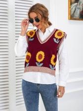 Sunflower Print V Neck Knit Sweater Vest