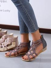 Chic Rhinestone Round Toe Womens Sandals