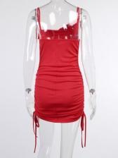 Sexy Ruched Dual Drawstring Mini Sleeveless Dress