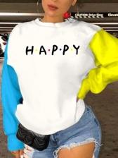 Color Block Patchwork Letter Printed Sweatshirt