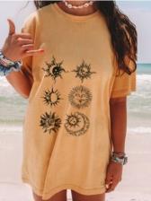 Casual Geometric Printed Ladies T Shirts