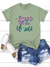 Casual Plus Size Letter T Shirt