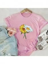 Sunflower Print Short Sleeve T Shirt