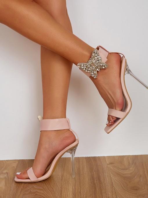 Euro Rhinestone Butterfly High Heel Sandal