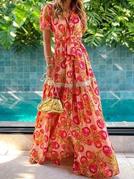 Bohemian Printed Short Sleeve Maxi Dress