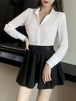 OL Style White Blouse Black Skirt Sets For Women
