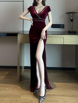 Deep V Neck Backless Party Short Sleeve Dresses
