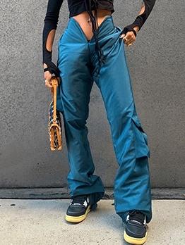 New Arrivals Solid Color V-Waist Cargo Pants