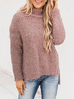 Euro Solid Long Sleeve Turtleneck Sweater