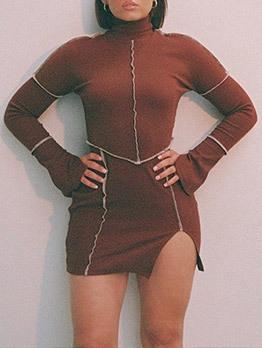 Turtle Neck Slit Long Sleeve Bodycon Dress