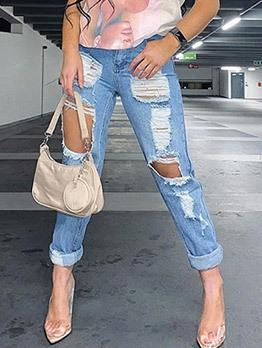 New Arrival High Waist Hole Casual Jeans