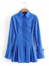 Turndown Neck A-line Long Sleeve Dress