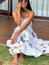 Letter Print Large Hem Backless Sleeveless Maxi Dress