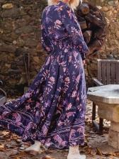 Vacation Printed V Neck Long Sleeve Maxi Dress