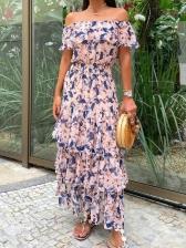 Bohemian Printed Ruffled Off Shoulder Dress